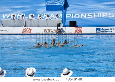 Jul 25 2009; Rome Italy; Team USA competing in the final round of the women's team synchronised swimming at the 13th Fina World Aquatics Championships held in the The Foro Italico Swimming Complex.