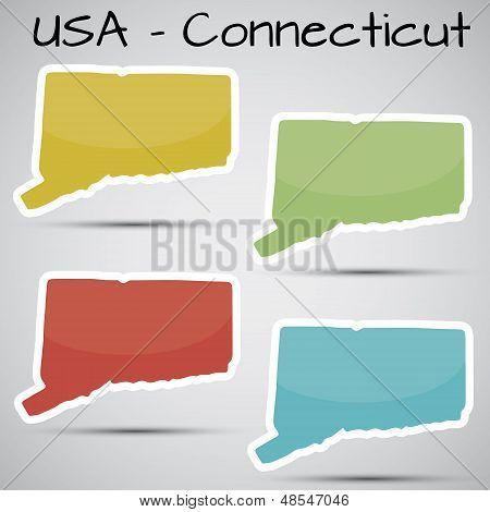 pegatinas en forma de estado de Connecticut, Estados Unidos