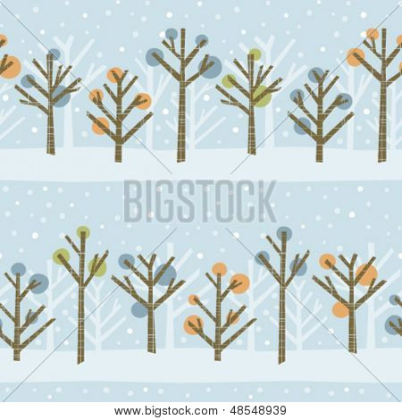 Seamless pattern of a cute winter forest. Colors can easily be changed in vector file.