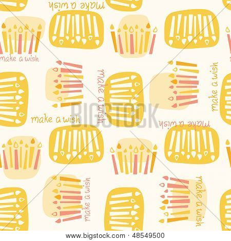 Seamless pattern of birthday candles with the phrase