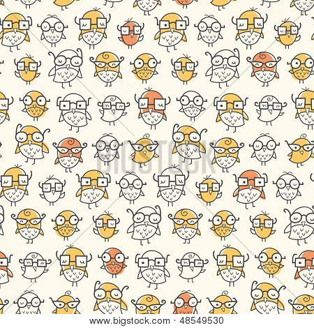 Seamless pattern of nerdy birds wearing glasses. Colors can be easily changed in vector file.