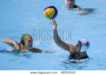 Jul 23 2009; Rome Italy; Whitney Genoway (CAN) competing in the women's preliminary round match waterpolo match between Canada and South Africa in the 13th Fina World Aquatics Championships
