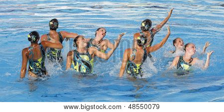 Jul 24 2009; Rome Italy; Team USA competing in the preliminary round of the women's team synchronised swimming at the 13th Fina World Aquatics Championships held in The Foro Italico Swimming Complex.