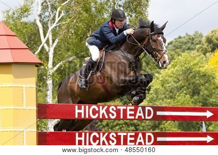 24/06/2011 HICKSTEAD ENGLAND, G I G AMAI ridden by Michael  Whitaker (GBR) competing in the Bunn Leisure Derby trial at the British Jump Derby Equestrian meeting held at Hickstead West Sussex England