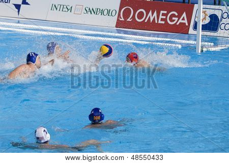 Jul 22 2009; Rome Italy; Anthony Azevedo USA team player scores a goal competing preliminary round waterpolo match between USA and Macedonia in the 13th Fina World Aquatics Championships