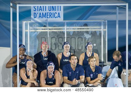 Jul 29 2009; Rome Italy; Team USA bench during the womens waterpolo semi final match between USA and Greece, USA won the match 8-7, at the 13th Fina World Aquatics Championships