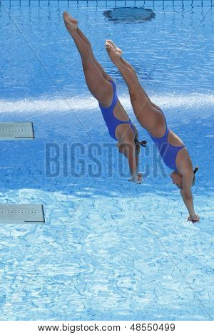 Jul 24 2009; Rome Italy; Kelci Bryant and Ariel Rittenhouse (USA) competing in the final of the women's synchronised 3m diving at the 13th Fina World Aquatics Championships