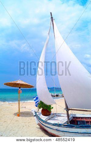 Traditional Fishing Boat At Chalkidiki  Greece