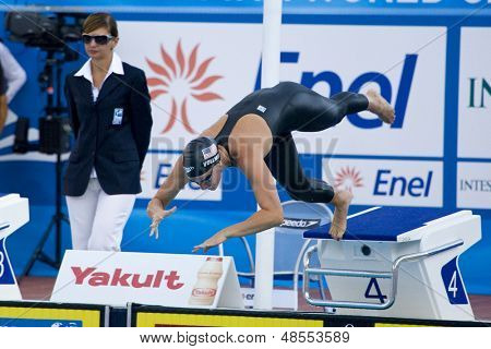 Jul 28 2009; Rome Italy; Dana Vollmer (USA) competing in the womens 200m freestyle semi final at the 13th Fina World Aquatics Championships held in the The Foro Italico Swimming Complex.