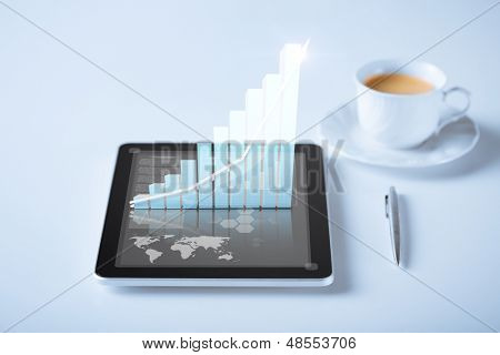 business and technology concept - tablet pc with virtual graph or chart