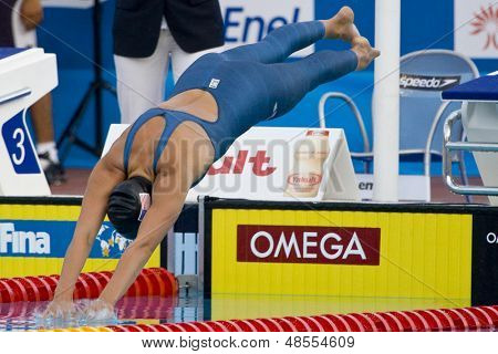 Jul 28 2009; Rome Italy; Rebecca Soni (USA) on her way to winning  the womens 100m breaststroke final at the 13th Fina World Aquatics Championships