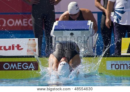 Jul 02 2009; Rome Italy; Matthew Grevers (USA) competing in the qualification rounds of the 4 x 100m medley, at the 13th Fina World Aquatics Championships held in the The Foro Italico Swimming Complex