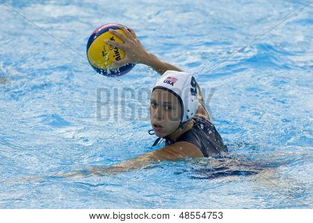 Jul 23 2009; Rome Italy; Elsie Windes (USA) competing in the preliminary round of the women's waterpolo competition at the 13th Fina World Aquatics Championships