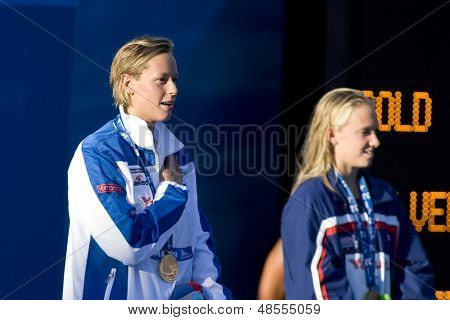 Jul 29 2009; Rome Italy; Federica Pellegrini (ITA) gold medal winner during the medal ceremony for the 200m freestyle the race was won by Federica Pellegrini (ITA) in a  world record time of 1.52.98