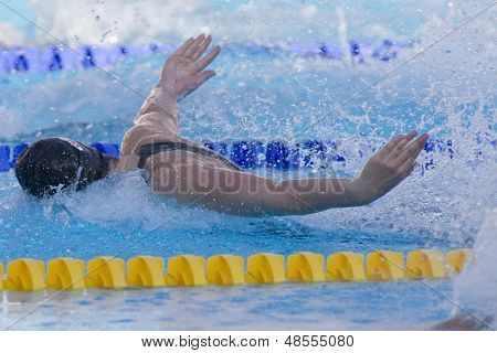 Jul 26 2009; Rome Italy; Christine Magnuson (USA) competing in the womens 100m butterfly semi finals at the 13th Fina World Aquatics Championships held in the The Foro Italico Swimming Complex.