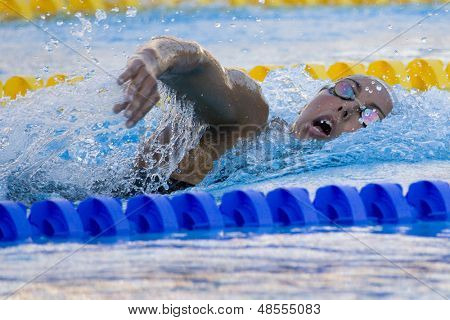 Jul 28 2009; Rome Italy;  Alessia Filippi (ITA) on her way to winning  the womens 1500m freestyle final with a championship record of 15.44.93, at the 13th Fina World Aquatics Championships