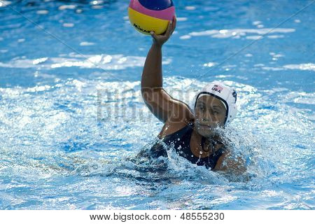 Jul 23 2009; Rome Italy; Brenda Villa (USA) competing in the preliminary round of the women's waterpolo competition at the 13th Fina World Aquatics Championships