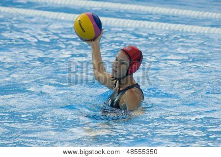 Jul 23 2009; Rome Italy; Elizabeth Armstrong (USA) competing in the preliminary round of the women's waterpolo competition at the 13th Fina World Aquatics Championships
