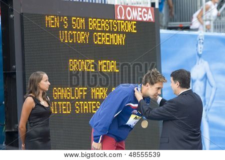 Jul 29 2009; Rome Italy; Mark Gangloff (USA) bronze medal winner during the medal ceremony for the mens 50m breaststroke at the 13th Fina World Aquatics Championships