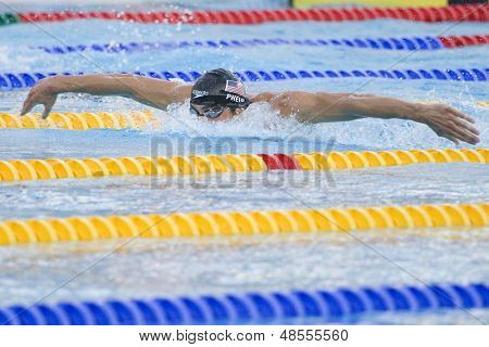 Jul 28 2009; Rome Italy; Michael Phelps (USA) competing in the mens 200m butterfly semi final at the 13th Fina World Aquatics Championships held in the The Foro Italico Swimming Complex.