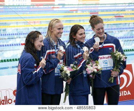 Jul 30 2009; Rome Italy;  Team USA winners of the silver medal during the medal ceremony for the womens 4 x 200m freestyle the race was won by Team China, at the 13th Fina World Aquatics Championships