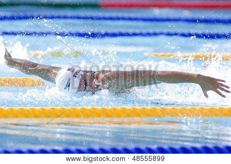 Jul 25 2009; Rome Italy; Dana Vollmer (USA) competing in the Women's 100m Butterfly at the 13th Fina World Aquatics Championships held in the The Foro Italico Swimming Complex.