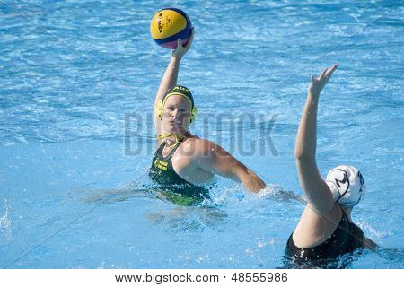 Jul 23 2009; Rome Italy; Sophie Smith (AUS) takes a shot at the goal competing in the waterpolo match between Australia and New Zealand in the 13th Fina World Aquatics Championships