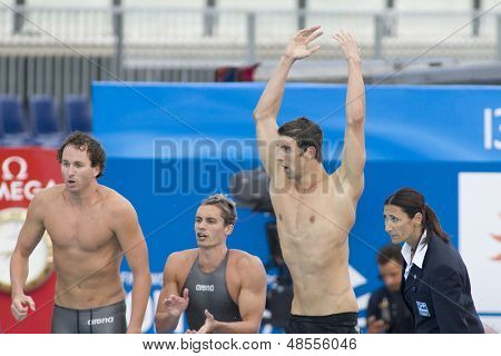 Jul 02 2009; Rome Italy; Aaron Piersol, Eric Shateau and Michael Phelps win the mens 4 x 100m medley final at the 13th Fina World Aquatics Championships held in the The Foro Italico Swimming Complex.