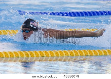 Jul 30 2009; Rome Italy; Ryan Lochte (USA) competing in the mens 200m individual medley final, the race was won by Ryan Lochte (USA) in a world record time of 1.54.10