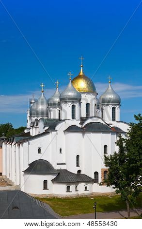 The top view on Saint Sophia cathedral in Kremlin, Great Novgorod, Russia