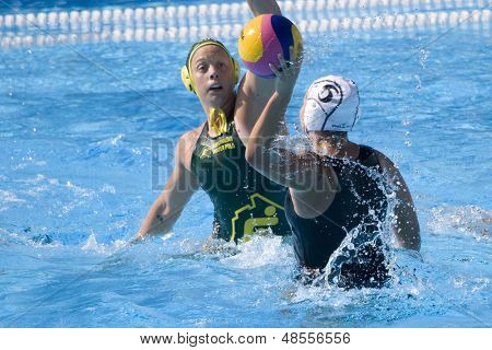 Jul 23 2009; Rome Italy; Lynlee Small (NZL) takes a shot at the goal while competing in the waterpolo match between Australia and New Zealand in the 13th Fina World Aquatics Championships