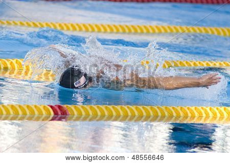 Jul 29 2009; Rome Italy; Michael Phelps (USA) competing in the mens 200m butterfly final at the 13th Fina World Aquatics Championships held in the The Foro Italico Swimming Complex.