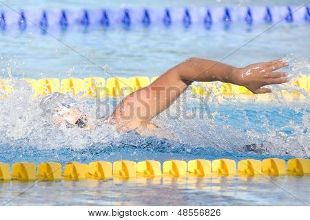 Jul 29 2009; Rome Italy;  Federica Pellegrini (ITA) on her way to winning the gold medal in a world record time of 1.52.98, in the 200m freestyle final at the 13th Fina World Aquatics Championships