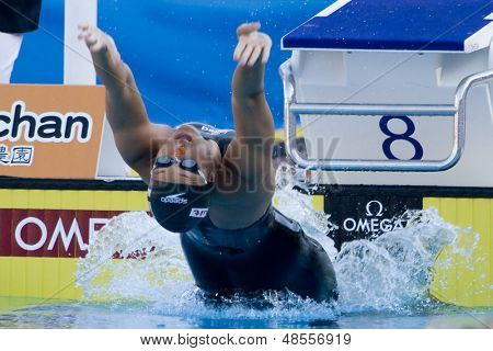 Jul 28 2009; Rome Italy; Hayley McGregor (USA) competing in the womens 100m backstroke final at the 13th Fina World Aquatics Championships held in the The Foro Italico Swimming Complex.