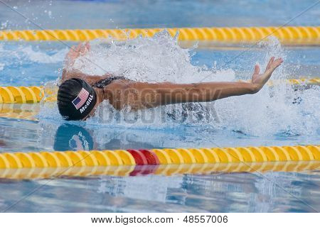 Jul 31 2009; Rome Italy; Tyler McGill (USA competing in the mens 100m butterfly semi final, at the 13th Fina World Aquatics Championships held in the The Foro Italico Swimming Complex.