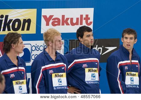 Jul 31 2009; Rome Italy; Team USA during the medal award ceremony for the mens 4 x 200m freestyle the race was won by Team USA in a world record time of 6.58.55