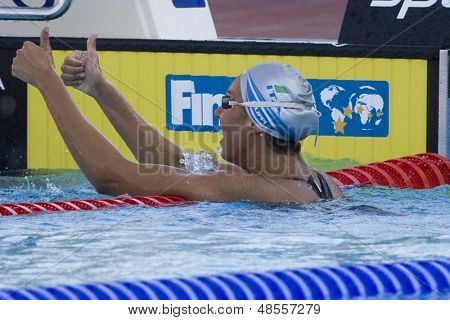 Jul 28 2009; Rome Italy;  Alessia Filippi (ITA) reacts after winning  the womens 1500m freestyle final with a championship record of 15.44.93, at the 13th Fina World Aquatics Championships