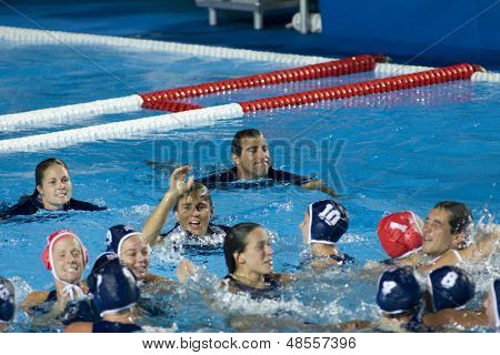 Jul 31 2009; Rome Italy;  Team USA celebrate winning the final of the womens waterpolo tournament, USA won the match 7-6, at the 13th Fina World Aquatics Championships