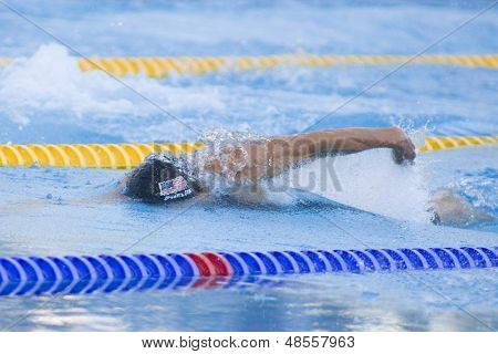 Jul 26 2009; Rome Italy; Michael Phelps competing in the mens 4 x 100m freestyle final at the 13th Fina World Aquatics Championships held in the The Foro Italico Swimming Complex.