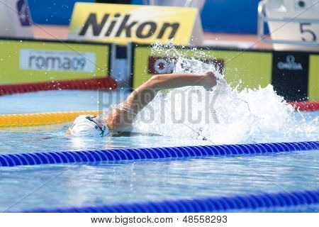 Jul 30 2009; Rome Italy; Amanda Wier (USA) competing in the qualifying rounds of the womens 100m freestyle, at the 13th Fina World Aquatics Championships held in The Foro Italico Swimming Complex.