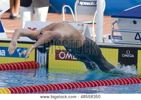 Jul 31 2009; Rome Italy; Aaron Piersol (USA) competing in the  200m backstroke final, in a world record time of 1.51.92, at the 13th Fina World Aquatics Championships