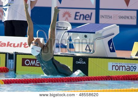 Jul 27 2009; Rome Italy; Hayley McGregory (USA) competing in the womens 100m backstroke at the 13th Fina World Aquatics Championships held in the The Foro Italico Swimming Complex.