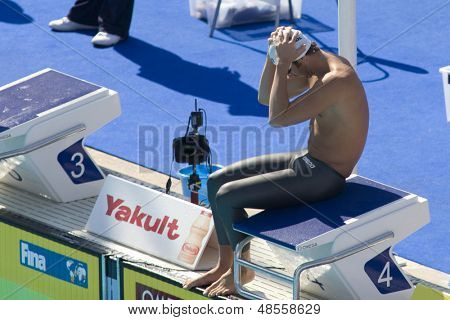 Jul 30 2009; Rome Italy; Aaron Peirsol (USA) competing in the qualifying rounds of the mens 200m butterfly, at the 13th Fina World Aquatics Championships held in The Foro Italico Swimming Complex.