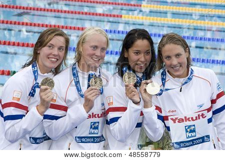 Jul 26 2009; Rome Italy; Team Netherlands winners of the 4 x 100m freestyle race  show their medals at the 13th Fina World Aquatics Championships held in the The Foro Italico Swimming Complex.