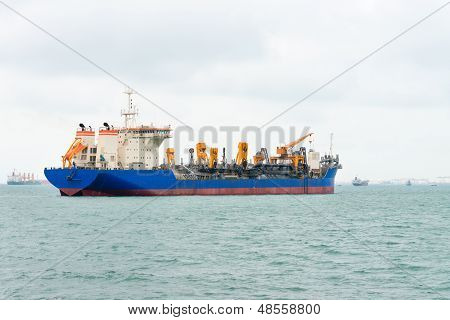 Big Ship On The Sea Near A Port