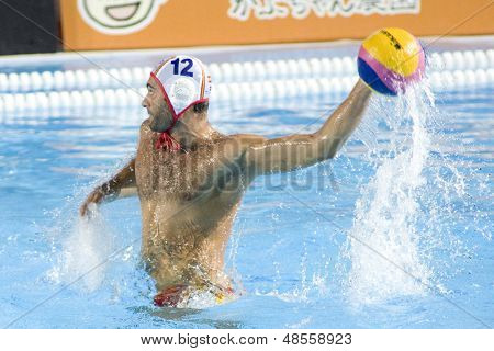 Jul 30 2009; Rome Italy; Spain team player Xavier Garcia competing in the semi final match between USA and Spain at the 13th Fina World Aquatics Championships held in The Foro Italico Swimming Complex