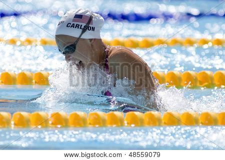 Jul 27 2009; Rome Italy; Casey Carlson (USA) competing in the womens 100m breaststroke at the 13th Fina World Aquatics Championships held in the The Foro Italico Swimming Complex.