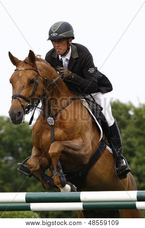 24/06/2011 HICKSTEAD ENGLAND, MAGIC FOX ridden by Shane  Breen (IRL) competing in the Hickstead Master's Challenge at the British Jump Derby Equestrian meeting held at Hickstead West Sussex England