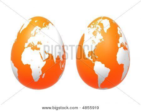 Two 3D Eggs World In Orange