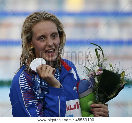 Jul 31 2009; Rome Italy; Fran Halsall (GBR) silver medal winner during the medal awarding ceremony for the womens 100m freestyle at the 13th Fina World Aquatics Championships